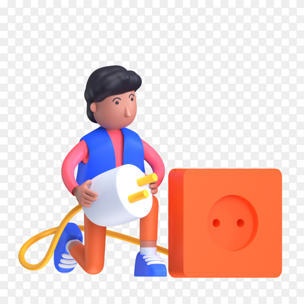 Man removing the plug from the socket as connection lost concept on transparent background PNG]